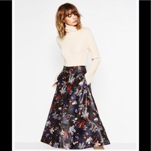 Zara leather printed effect skirt